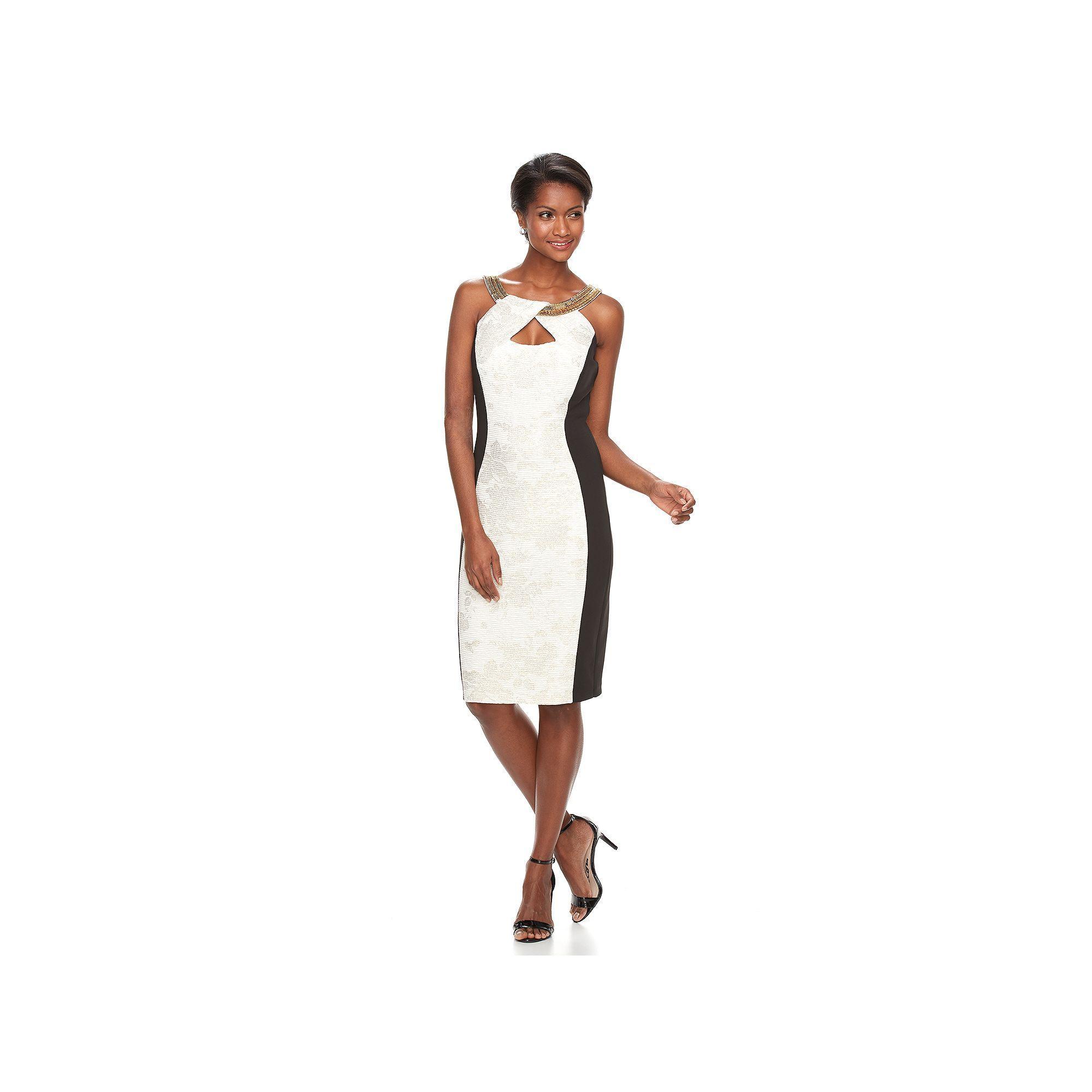 Women\'s Jax Colorblock Keyhole Sheath Dress, Size: 12, Beig/Green ...