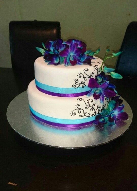 Blue And Purple Orchids Wedding Cake More Orchid Wedding Cake
