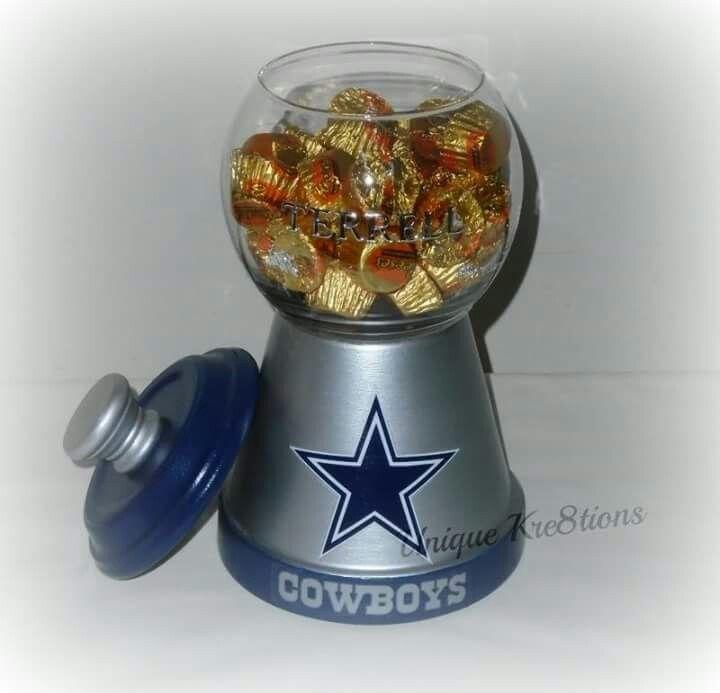 Personalized Dallas cowboys candy jar