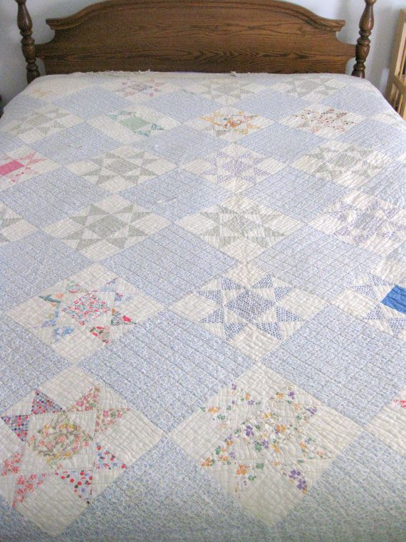Vintage Ohio Star Quilt with Blue Background, Antique Quilt with Vintage Feedsack Fabrics