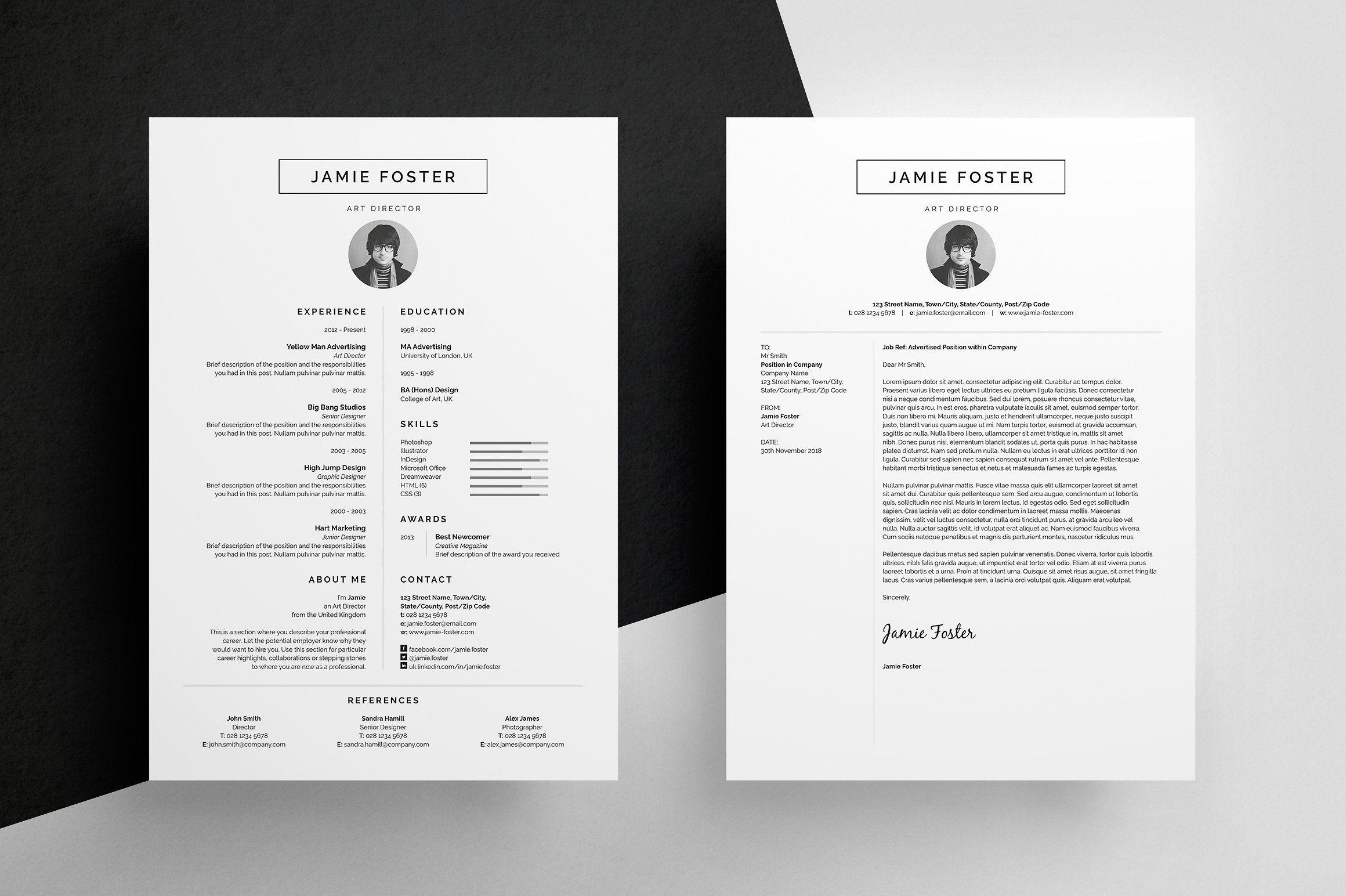 Resume/CV Jamie Resume design template, Resume design