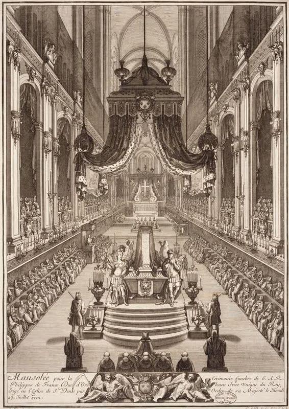 """""""Mausolée pour la cérémonie funèbre de S.A.R. Philippe de France Duc d'Orléans, frère unique du Roy, érigé en l'Eglise de St Denis par ordre de Sa Majesté, le samedi 23. Juillet 1701""""."""
