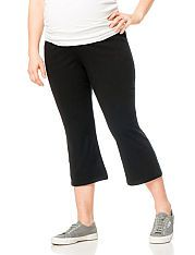 38cd8c7e19ab1 Plus Size Fold Over Belly Cropped Maternity Yoga Pants | Inspiration ...