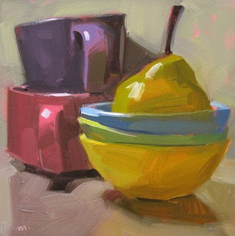 Pear Bath, painting by artist Carol Marine
