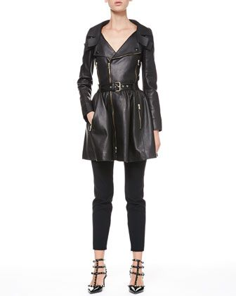 Exposed-Zip Leather Trenchcoat and Tech Cady Skinny Pants by RED Valentino at Bergdorf Goodman.