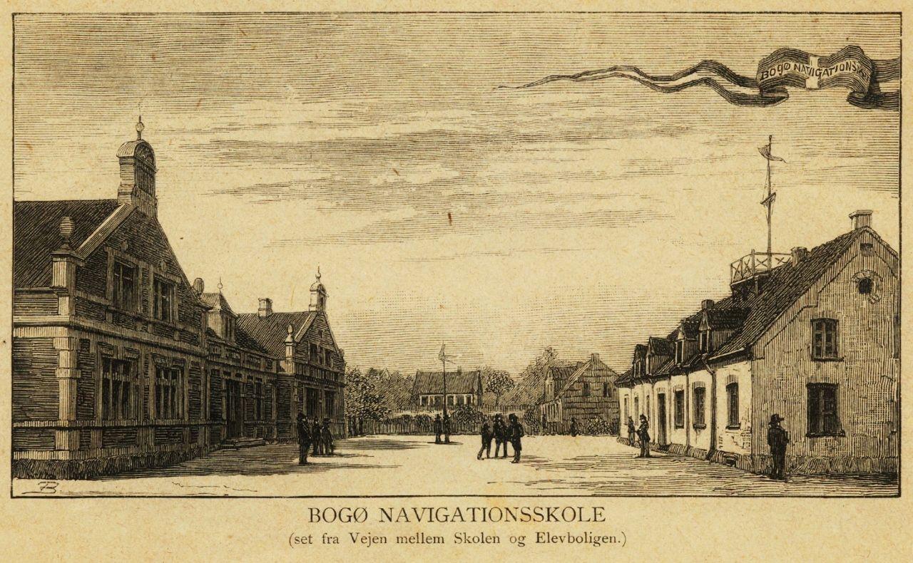 Bogo Navigationsskole Som Den Sa Ud Ved Indvielsen Af Den Nye Hovedbygning I 1885 Her Vejen Mellem Hovedbygningen Og Elevb Ikon