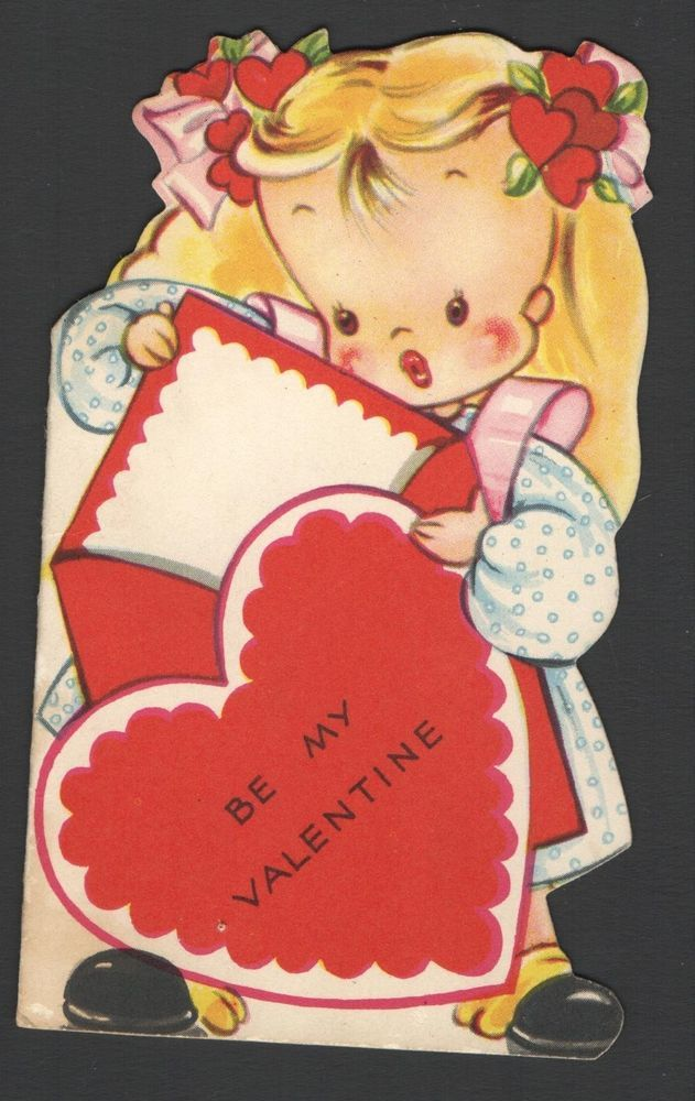 Vintage Valentines Day Card Little Blond Red Heart Ribbons in Hair