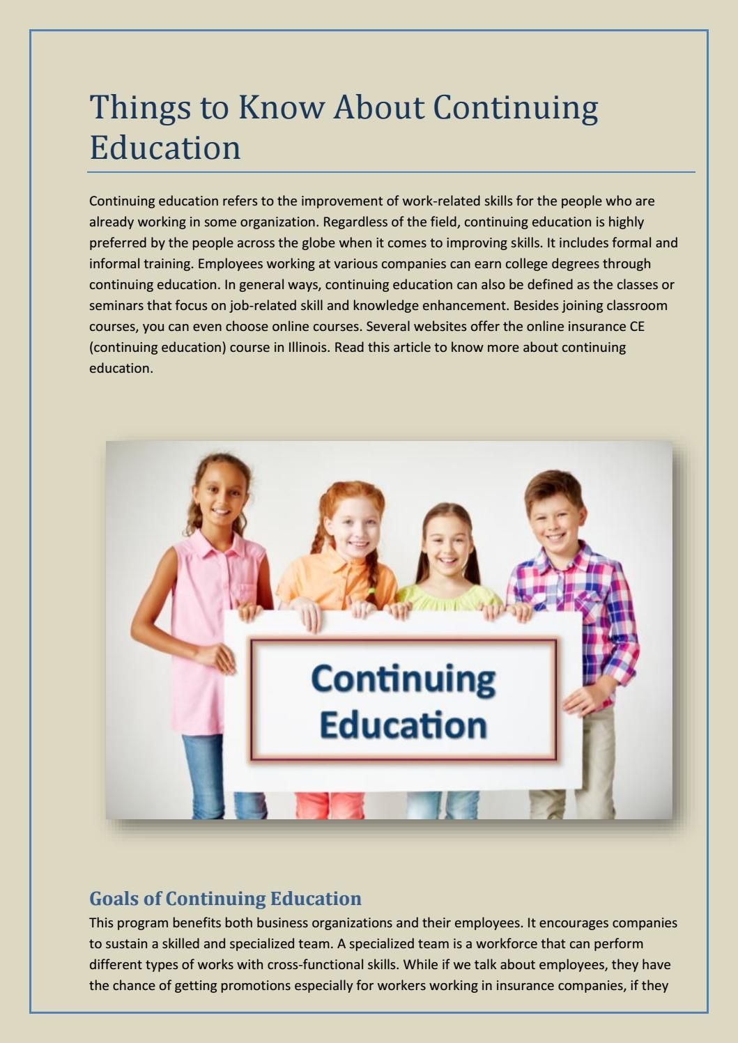 Things to know about continuing education Continuing