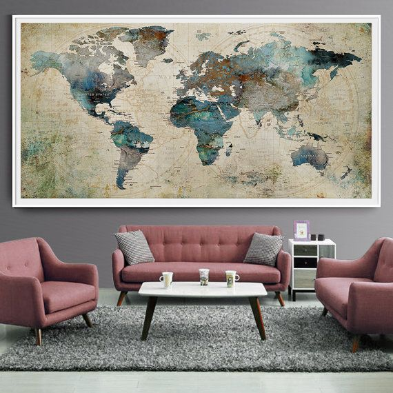 Extra large wall art push pin world map art print large wall decor extra large wall art push pin world map art print large wall decor abstract painting world map poster extra large art world map l35 gumiabroncs Image collections