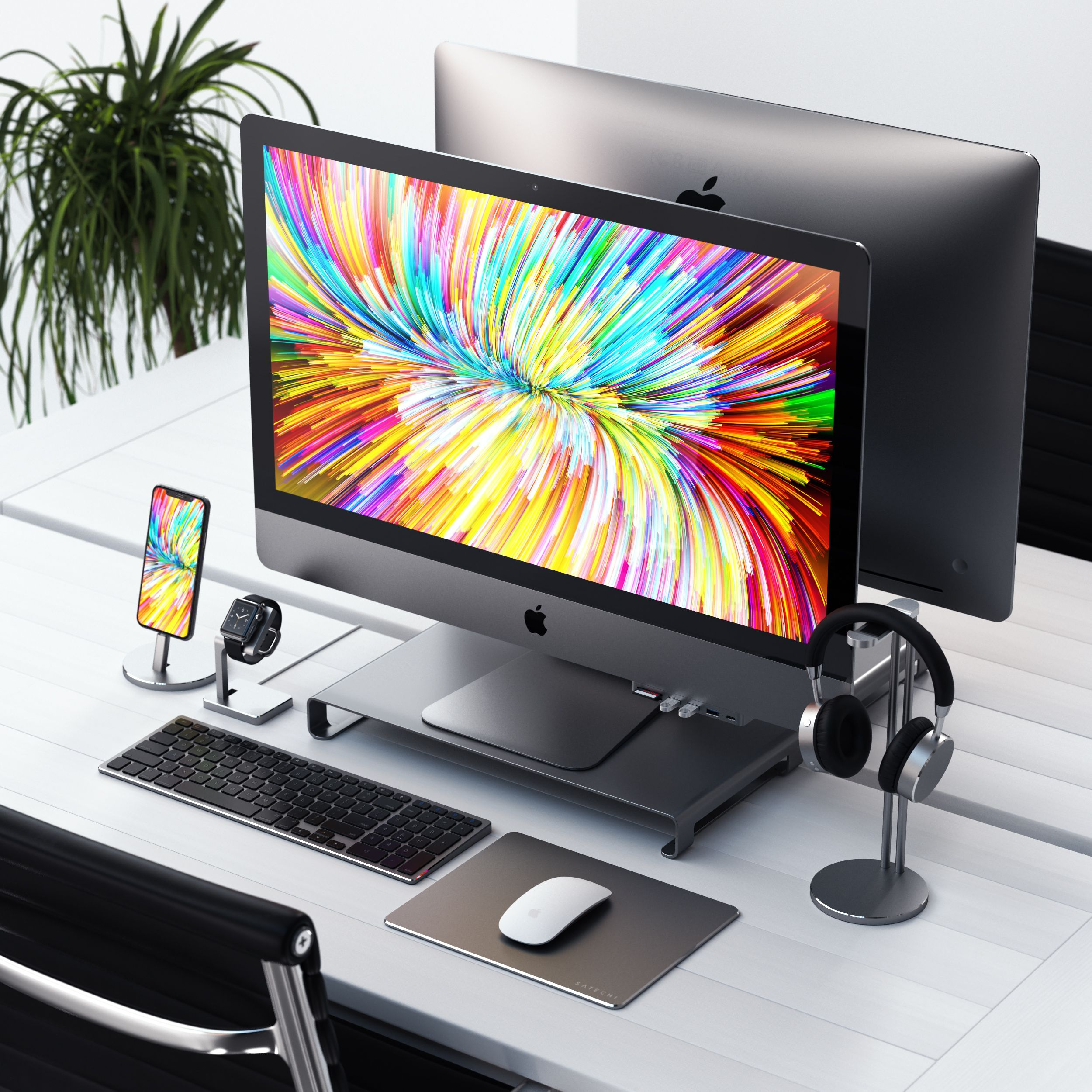 What Do You Guys Think Of This Setup Or Lifemadeeasy Imac Iphone Tech Accessories Imac Desk Imac Desk Setup Desktop Setup