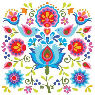Inspiré Par Les Motifs Traditionnels Polonais Arte Por Art Plastique Hungarian Embroidery Mexican
