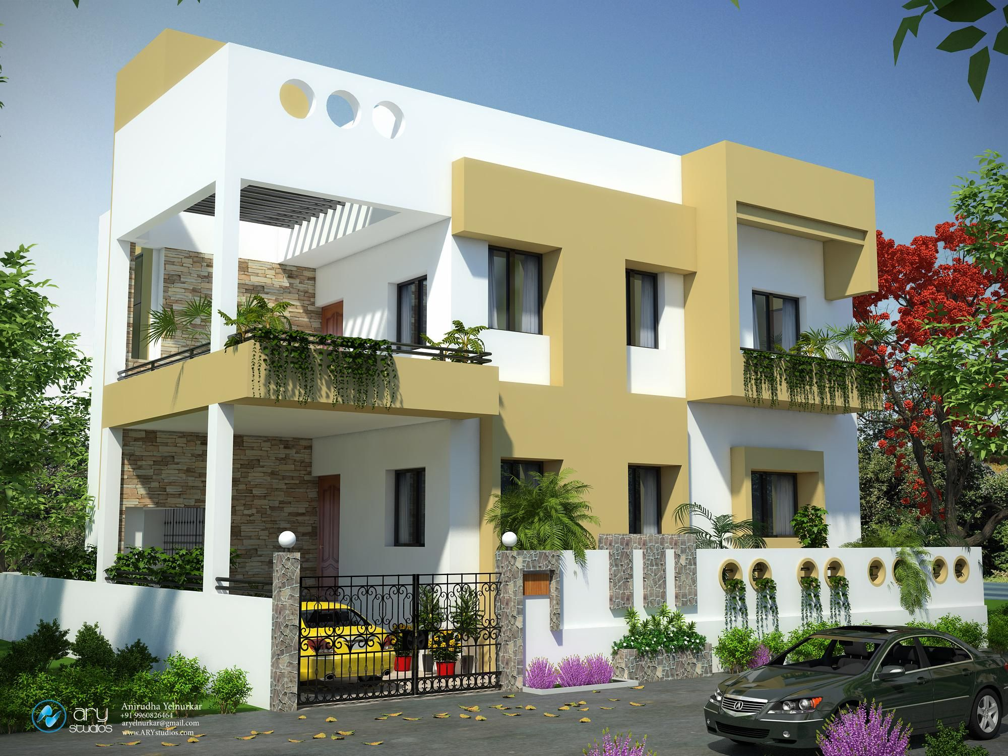 Residential Indian Simple House Colour Combination Outside