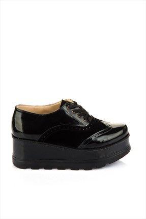 Siyah Rugan Suet Dolgu Topuklu Ayakkabi 4117 Siyah Rugan Topuklular Topuklu Ayakkabilar