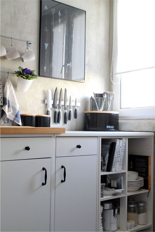 Czarnobiała mała kuchnia Kitchen, Home decor