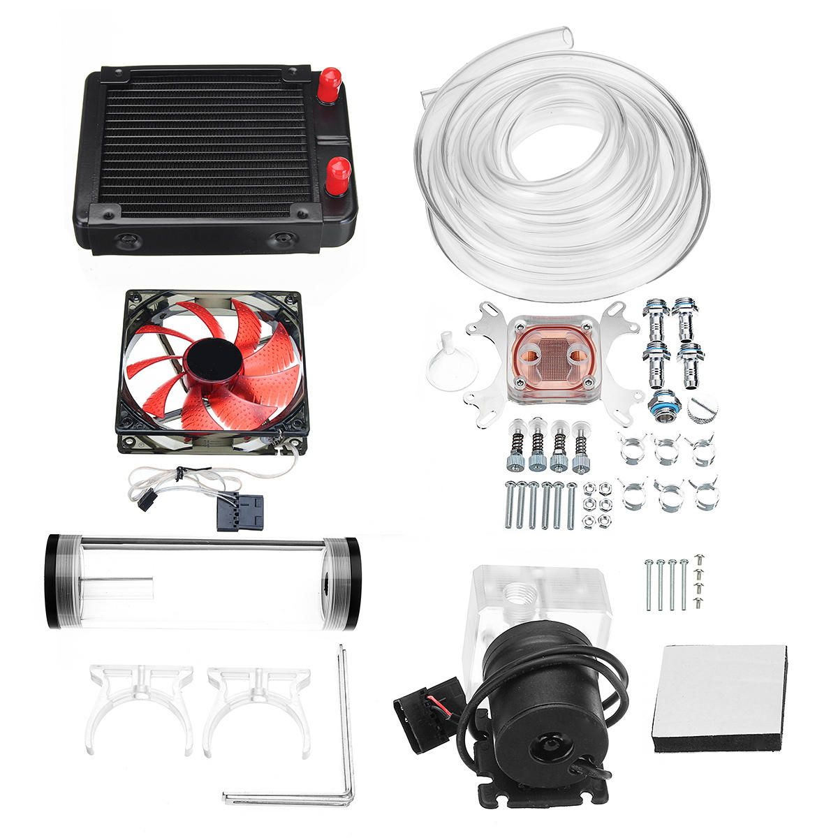 120mm Diy Pc Water Liquid Cooling Fan Kit Heat Sink Set Cpu Block Water Pump Reservoir Hose Diy Pc Pumps Diy Electronics