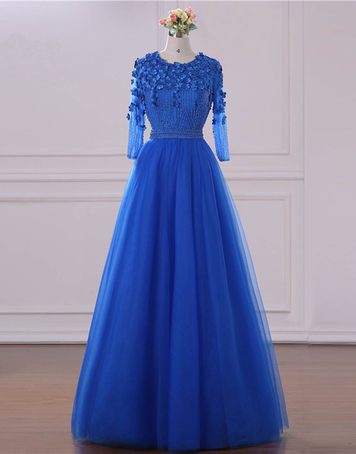 Royal blue tulle long customize sequins prom dress with mid sleeve