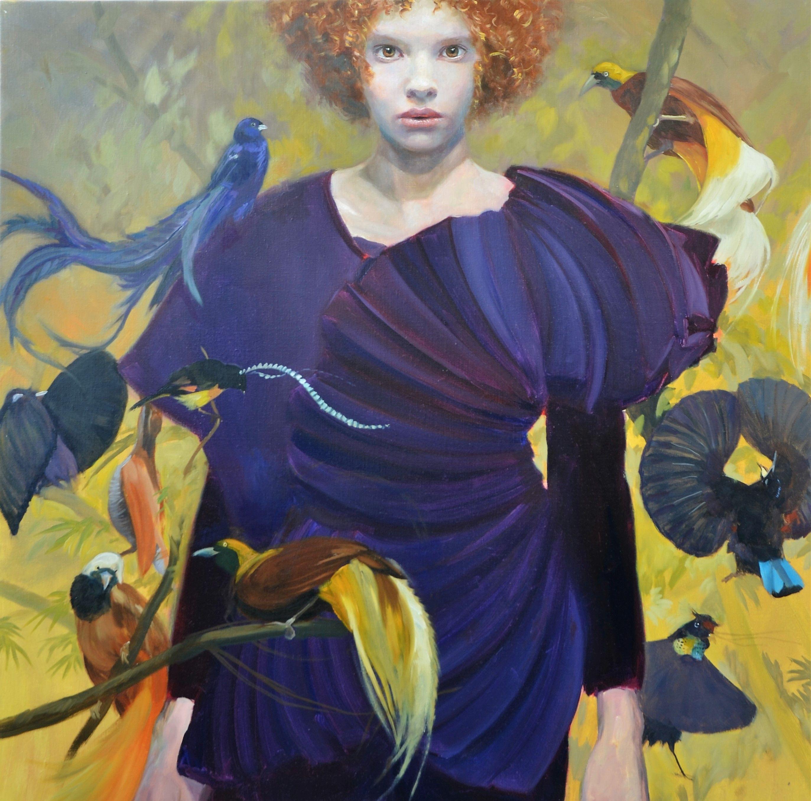 Sophie MORISSE, Oiseaux de paradis, 100 x 100 cm, huile sur toile