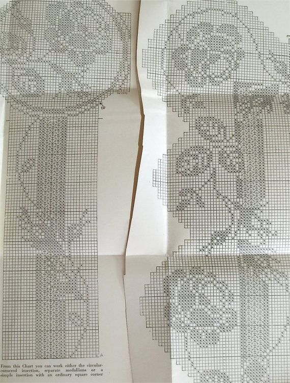 Mary Card filet crochet chart number 53 by sarasellsvintage | Virka ...