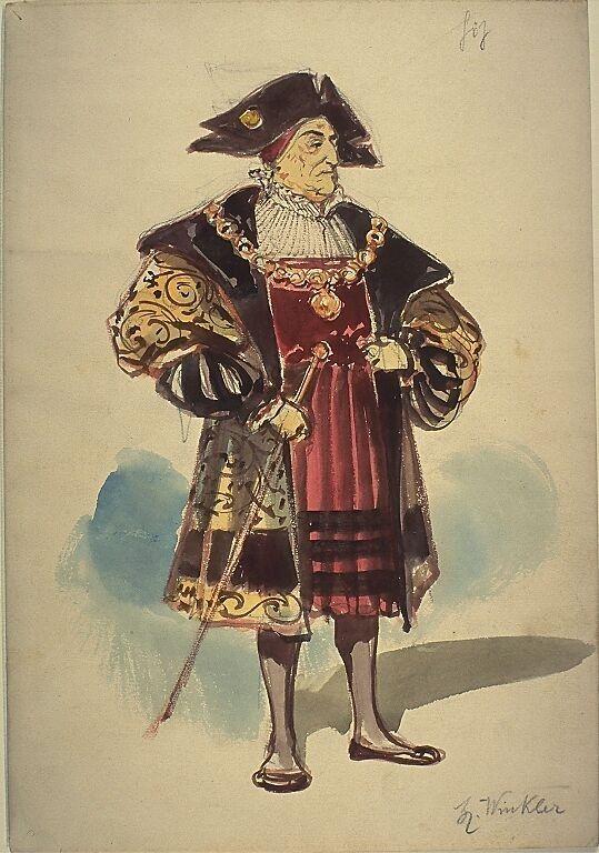 Kostumentwurf Fur Eine Mannliche Figur Mitglied Des Kaiserlichen Rats Aus Gotz Von Berlichingen Mit Der Eisernen Han Deutsche Renaissance Renaissance Figur