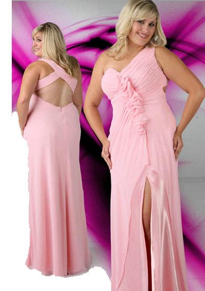 V Neck Sweetheart Long Pink Plus Size Prom Dresses ✿ ☺