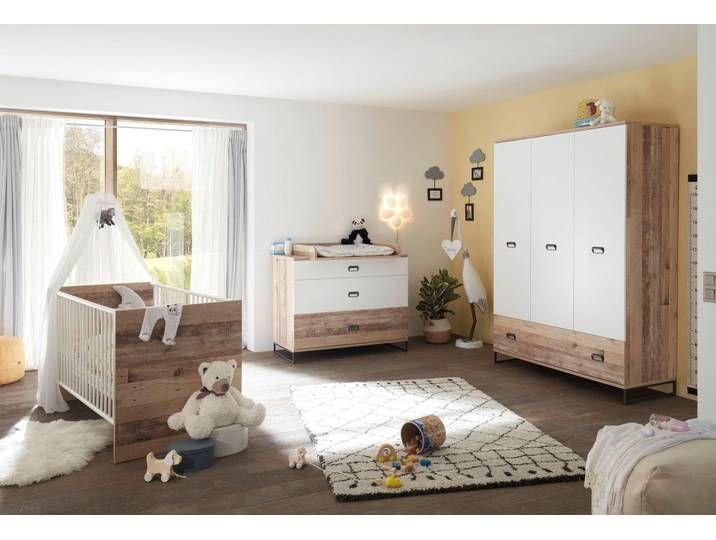 3trg Babyzimmerkomplettset Bett Ronny Schrank Wickelkommode