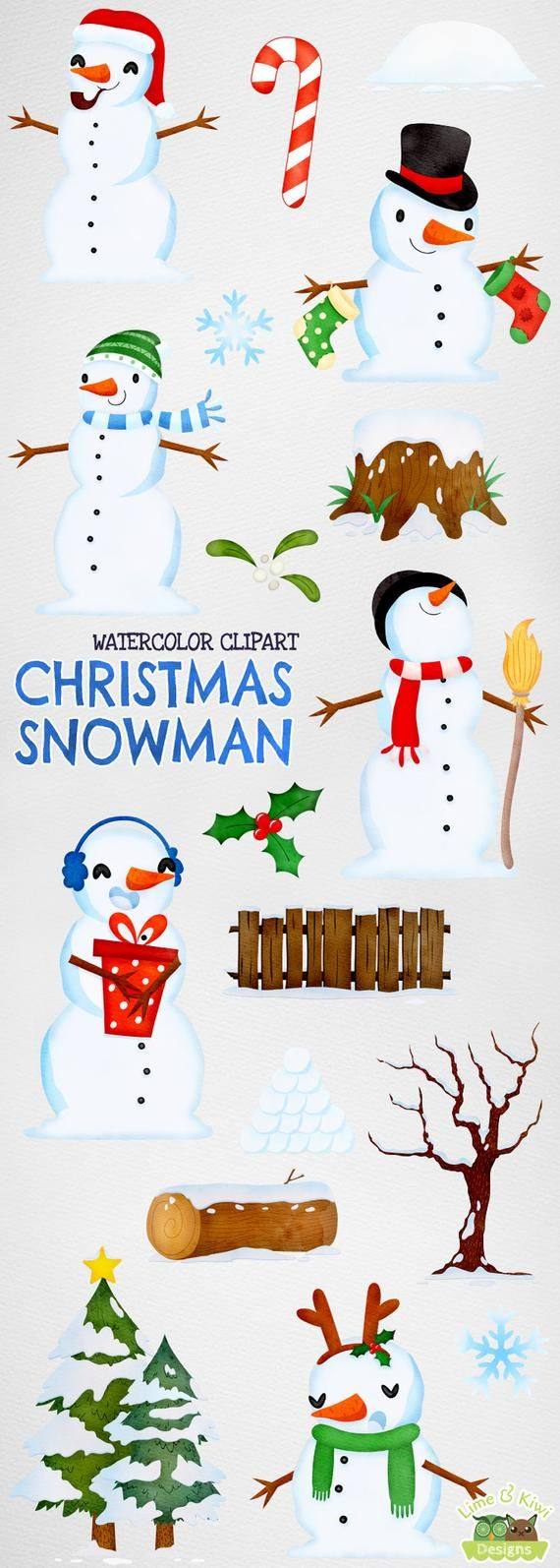 small resolution of christmas snowman watercolor clipart instant download vector etsy