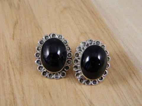 Mexican Sterling Silver And Onyx Large Post Earrings Vintage Pierced