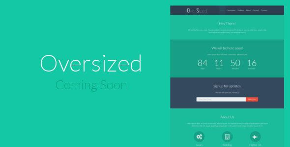 Oversized is a minimal, flat, and responsive coming soon template - email signup template