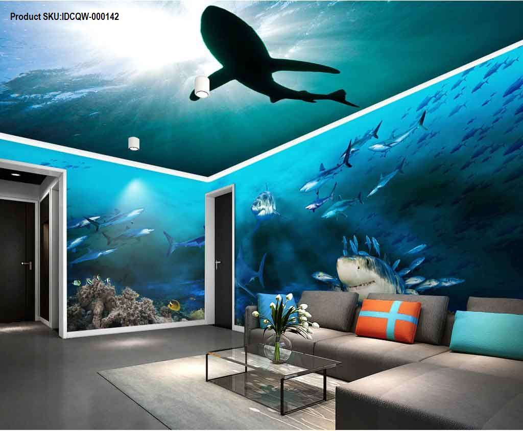 3d Sharks Shadow Underwater Entire Room Wallpaper Wall Murals Art Prints Idcqw 000142 Mural Wall Art Wall Wallpaper Wall Murals Underwater living room background