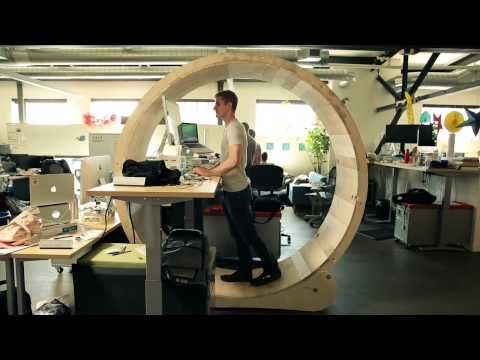 Standing Desks Are So Last Year All The Cool Kids Are In Hamster Wheels Now Diy Standing Desk Treadmill Desk Stand Up Desk