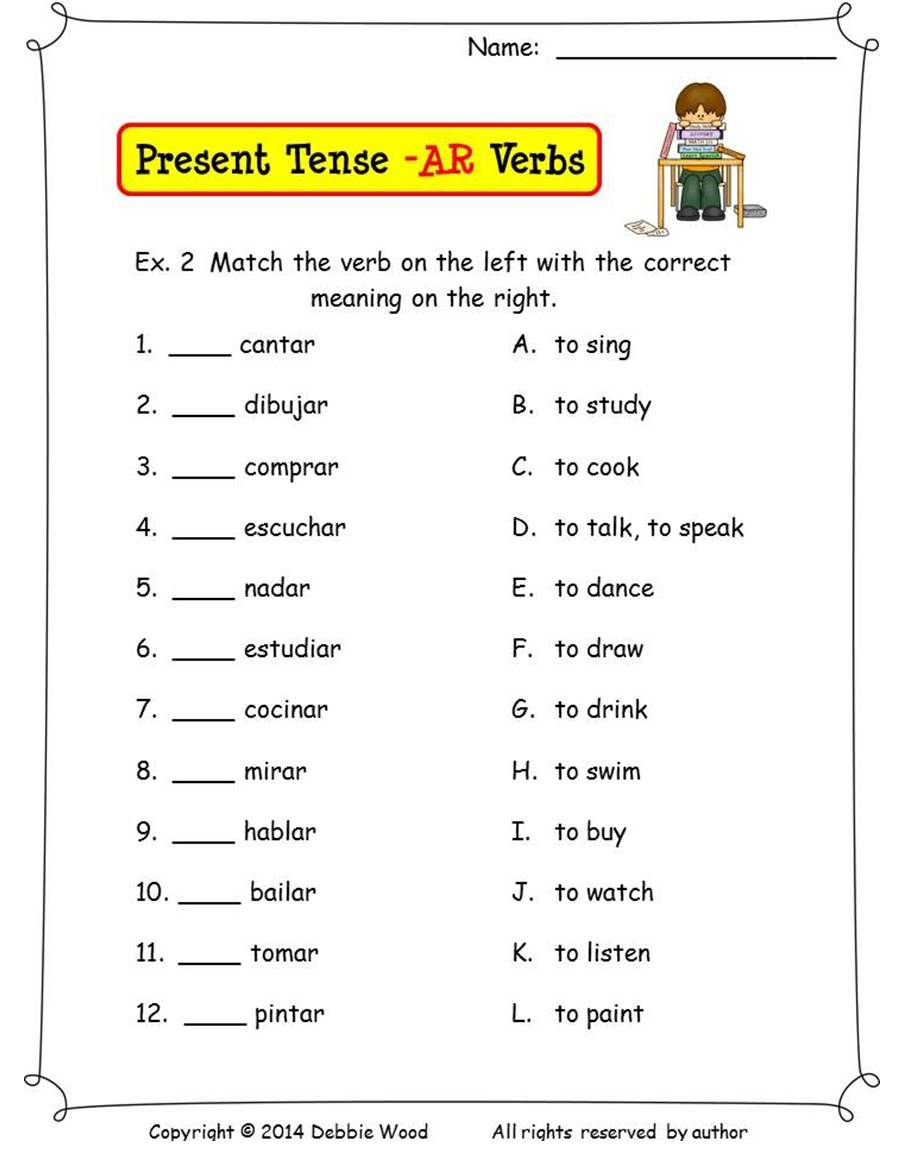 Spanish Present Tense Ar Verbs Spanish Worksheets And