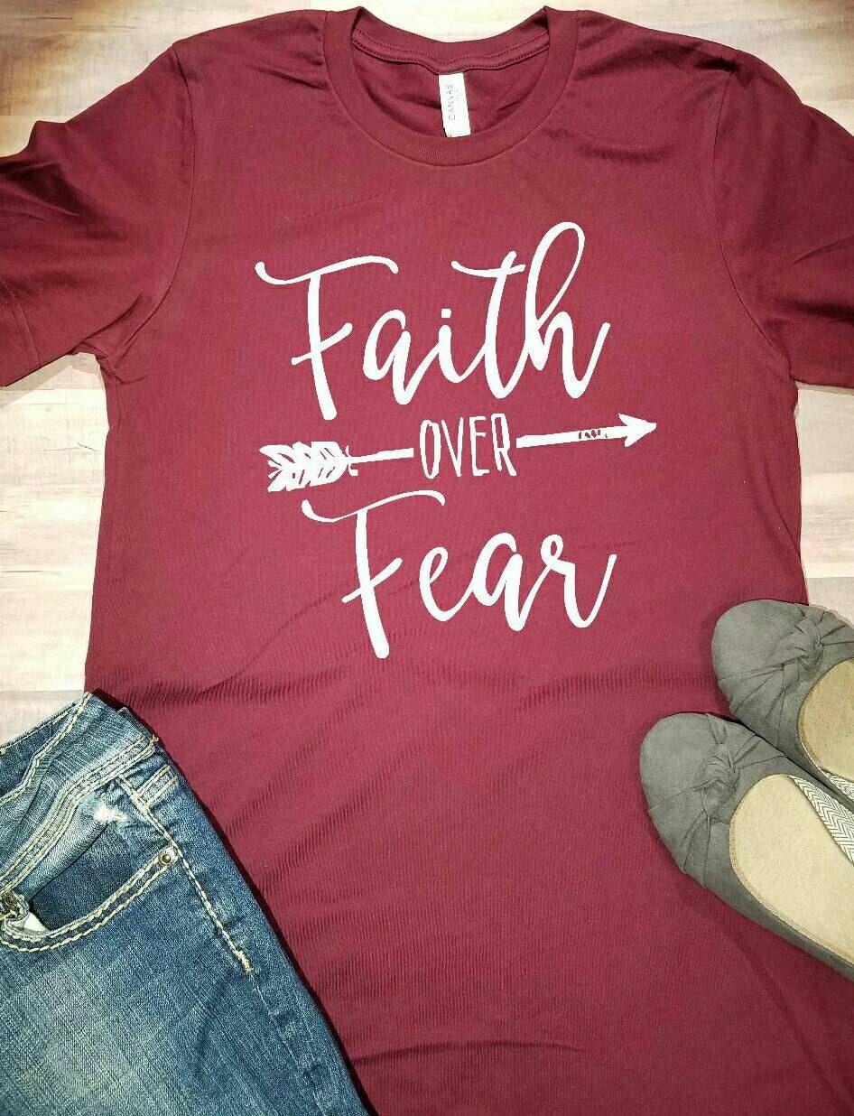 Faith Over Fear Shirt, Christian Shirt, Jesus Shirt, Have Faith Shirt, Christian Faith Shirt, Faith Over Fear Tshirt, Faith Over Fear Tee by SapphirePearlDesigns on Etsy https://www.etsy.com/listing/502630770/faith-over-fear-shirt-christian-shirt