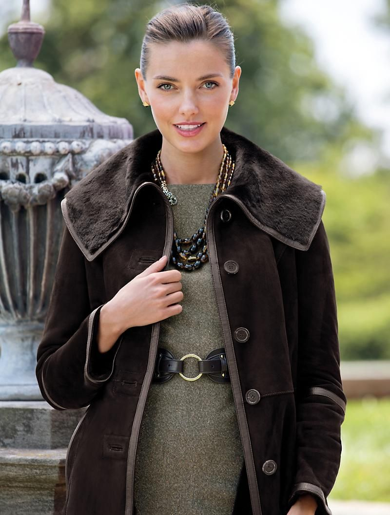 Talbots Long Shearling Coat Outerwear Misses Clothes For Women Fashion Shearling Coat [ 1057 x 800 Pixel ]
