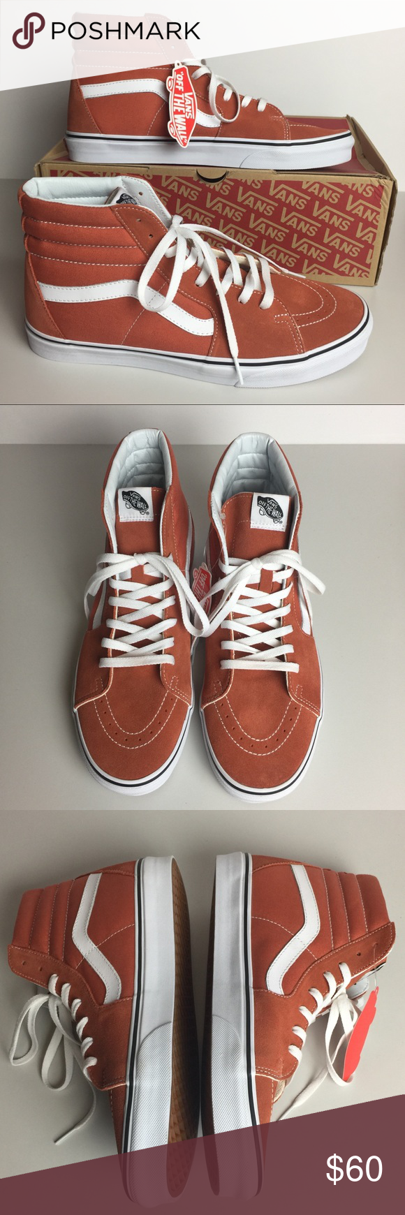 788bc67d09d Vans Men s SK8-Hi Autumn Glaze True White Vans high top skate shoes Suede  and canvas uppers with leather side stripes Re-enforced toecaps to  withstand ...
