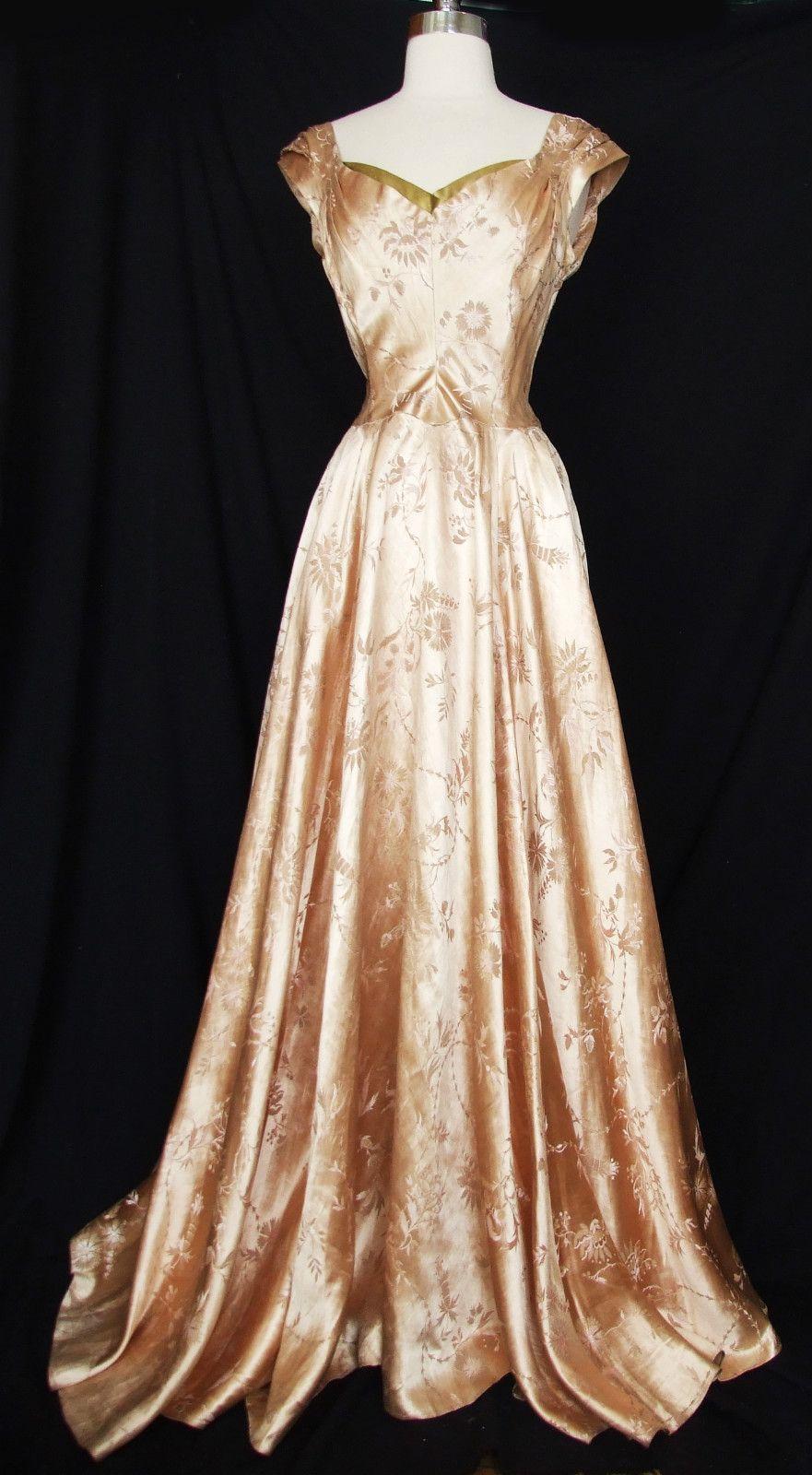 Vtg s s silk satin brocade evening gown party dress wwii era