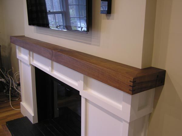 White And Red Works Custom Furniture Walnut Fireplace Mantle