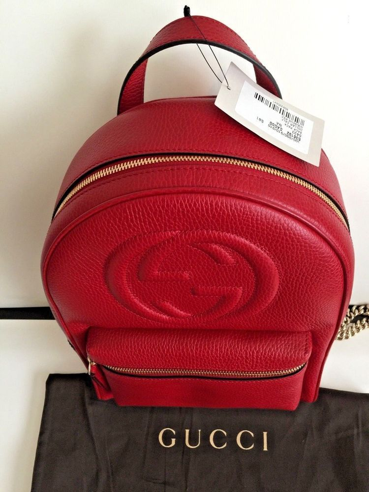 7ef0a7337615a4 GUCCI Soho Red Calf Leather Chain Backpack- New w/tag #fashion #clothing