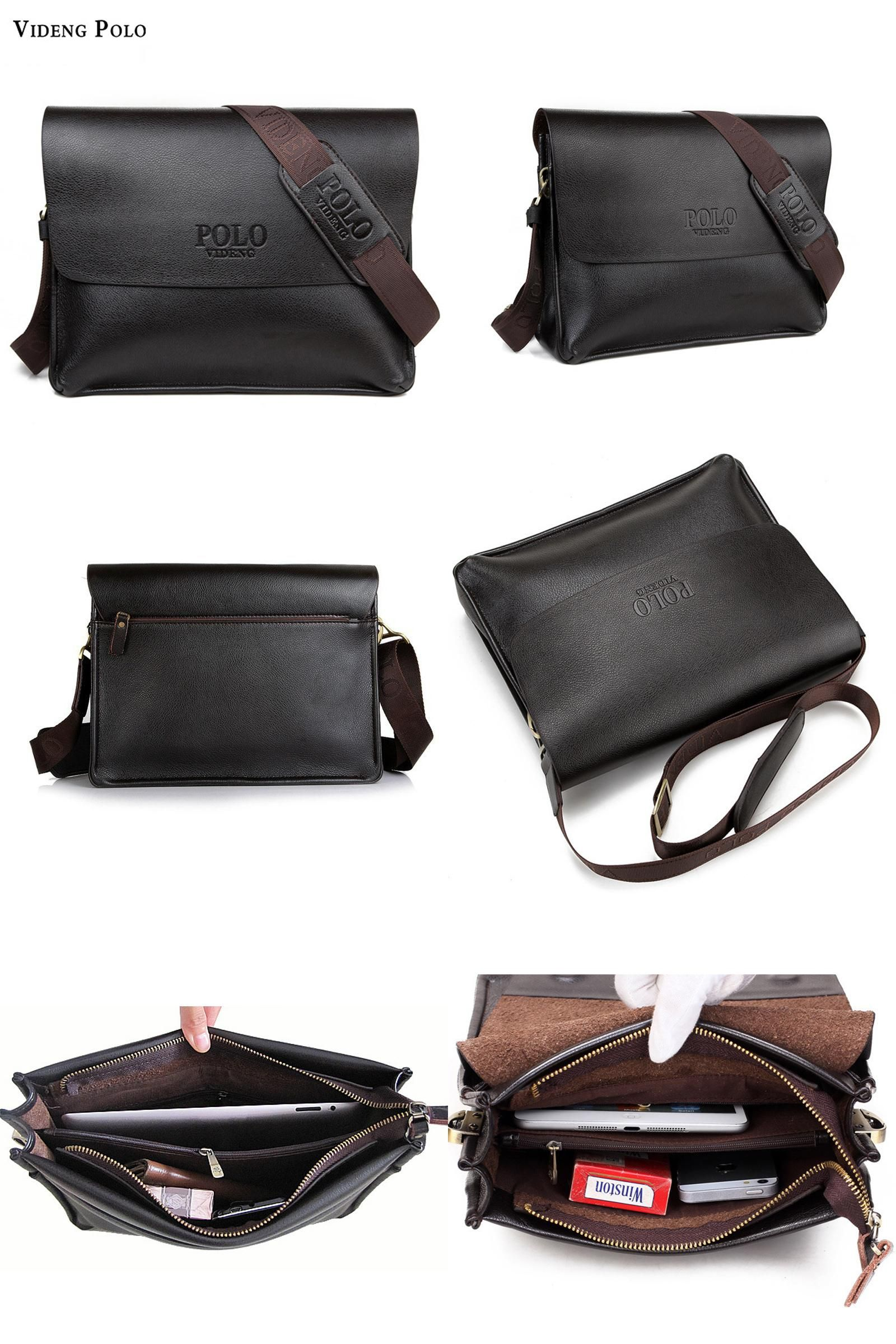 Visit to Buy  VIDENG POLO Brand New Vintga pu leather men bag fashion men f6c2ee6460654