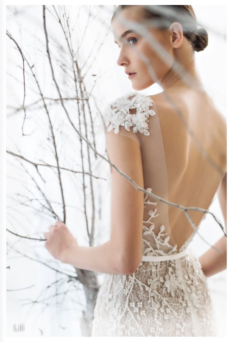 Back detail wedding dress  Mira zweillinger  collection Lili gown wedding dress with lace