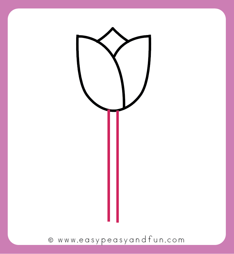 How To Draw A Tulip For Kids Easy Step By Step Tutorial Easy Peasy And Fun Tulip Drawing Easy Flower Drawings Step By Step Drawing