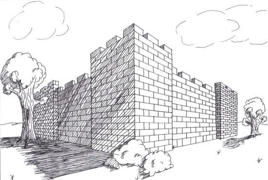 A simple 2-point perspective castle drawing. | One point perspective, Point  perspective, Perspective lessons