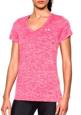 Under Armour Knockout  Metallic Silver Womens Twisted Tech V-Neck