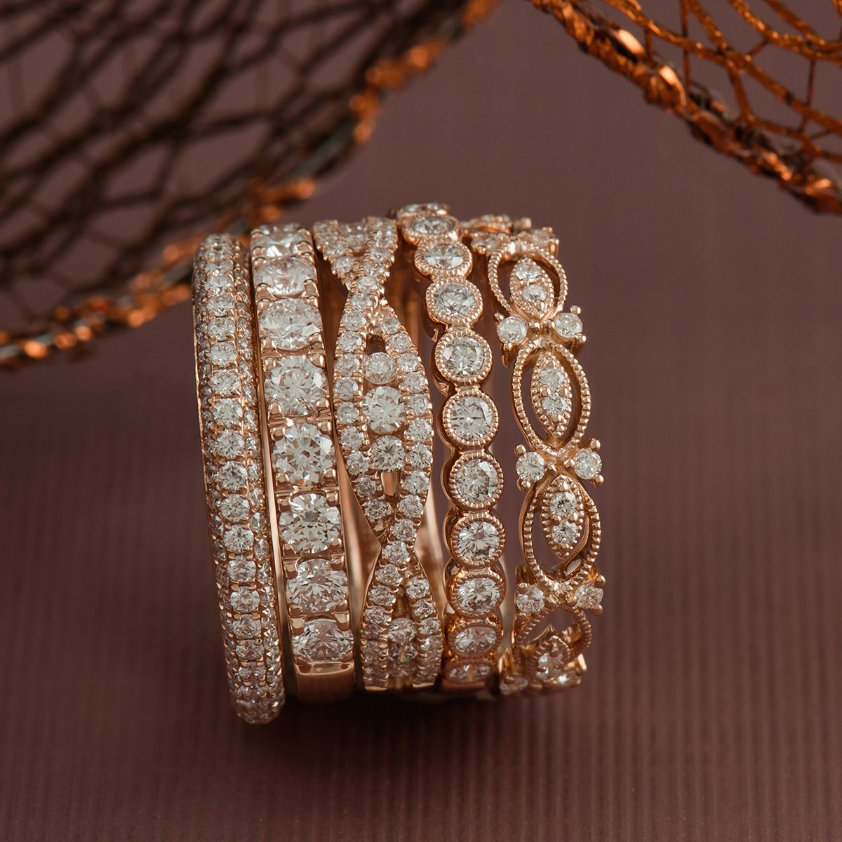Women's wedding bands, stackable fashion bands, rose gold