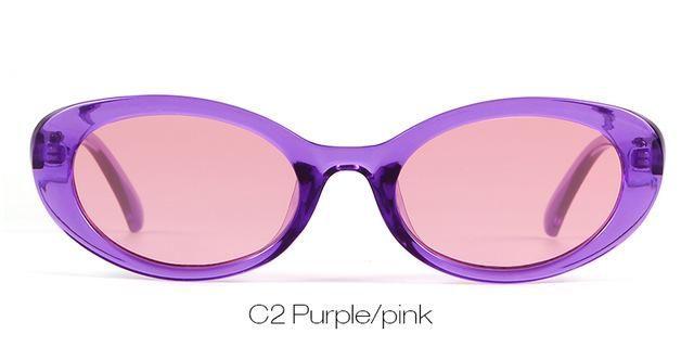45206aac60b46 Who Cutie Small Oval 90S Sunglasses Men Women Retro Narrow Purple Frame 604B