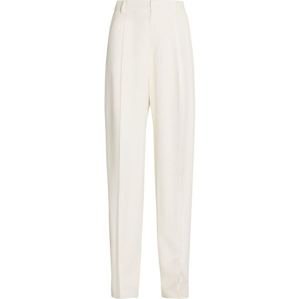 Joseph Lo crepe wide-leg pants ($460) ❤ liked on Polyvore featuring pants, trousers, joseph, white, loose pants, white loose pants, zipper pants, white wide leg pants and pleated pants