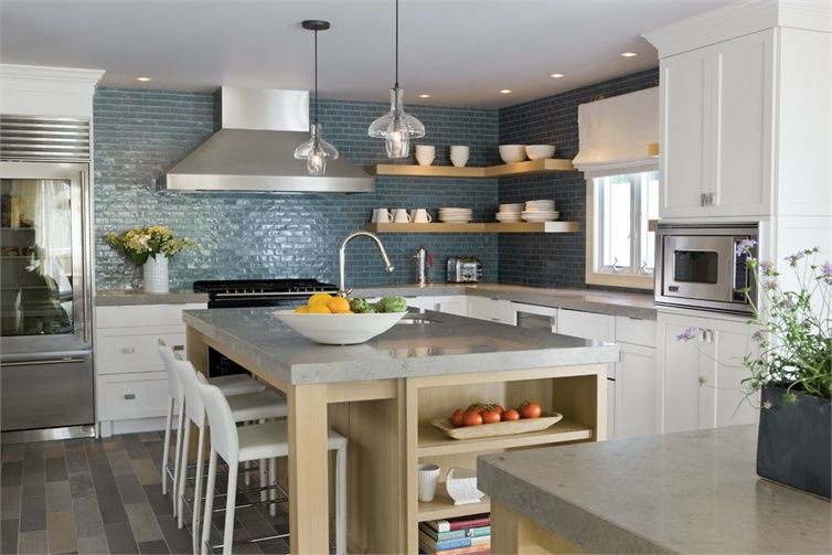 The calm blues of a Caesarstone countertop, porcelain floor and