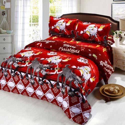 4pcs Cotton Material 3D Printed Cartoon Merry Christmas Gift Santa Claus Bedding Set Comfort Deep Pocket Bedclothes Duvet Quilt Cover Bed Sheet 2 Pillowcases