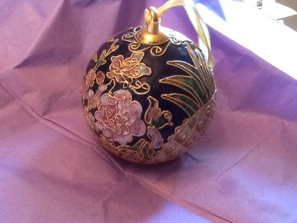 Enamel Gilded CLOISONNE PURPLE FLOWER/COBALT METAL BELL CHRISTMAS