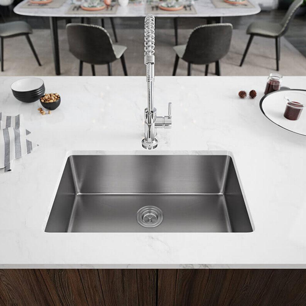Rene Undermount Stainless Steel 28 1 8 In Single Basin Kitchen Sink Kit R1 1035s 18 The Home Depot Single Basin Kitchen Sink Undermount Kitchen Sinks Single Bowl Kitchen Sink