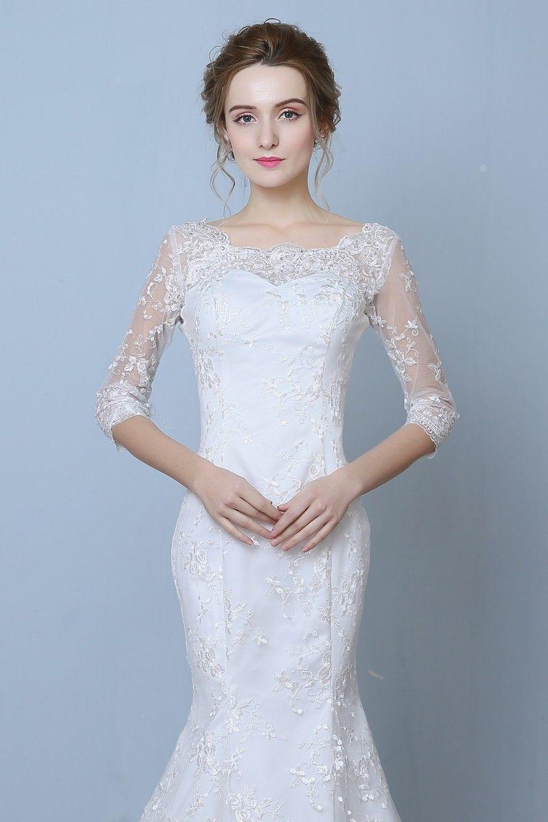 Elegant Three Quarter Sleeve Floor Length Train Lace Mermaid Wedding